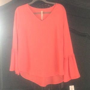 V-Neck Blouse with Bell Sleeves